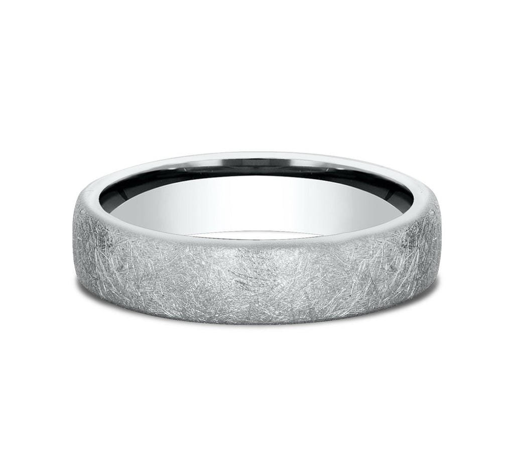 14k White Gold 5 5mm European Comfort-Fit Profile Band with A Swirl Finish