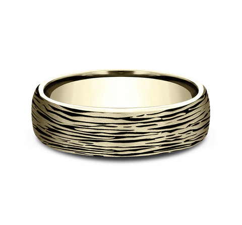 14k Yellow Gold 6 5mm Band with A Black Detail Tree Bark Design