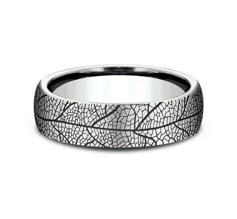 14k White Gold 6 5mm Band with A Black Detail Leaf Design
