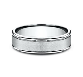 14k White Gold 6mm Band with Vertical Hammer