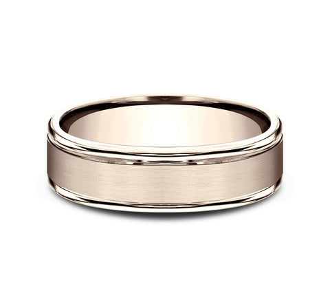 14k Rose Gold 6mm Band with A Satin Center and High Polish Rounded Edges