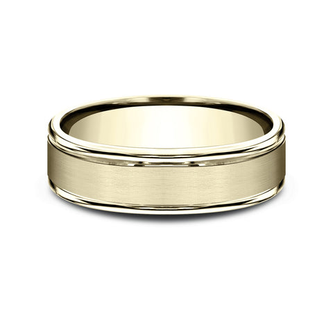 14k Yellow Gold 6mm Band with A Satin Center and High Polish Rounded Edges