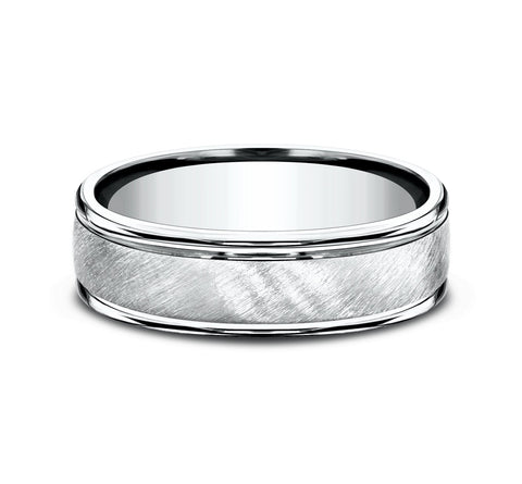14k White Gold 6mm Band with A Diagonal Satin Center and High Polish Rounded Edges