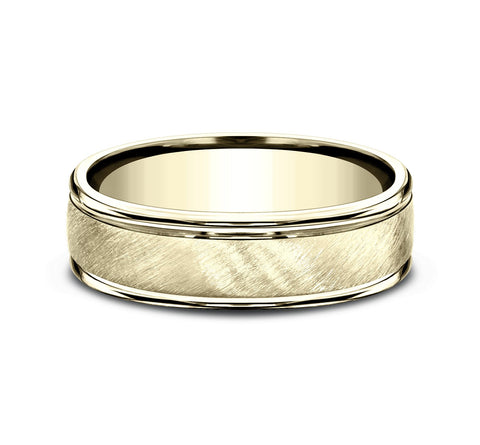 14k Yellow Gold 6mm Band with A Diagonal Satin Center and High Polish Rounded Edges