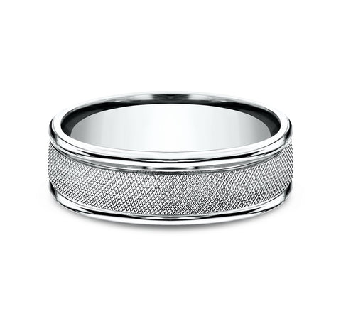 14k White Gold 7mm Band with A Florentine Finish Center and High Polish Rounded Edges