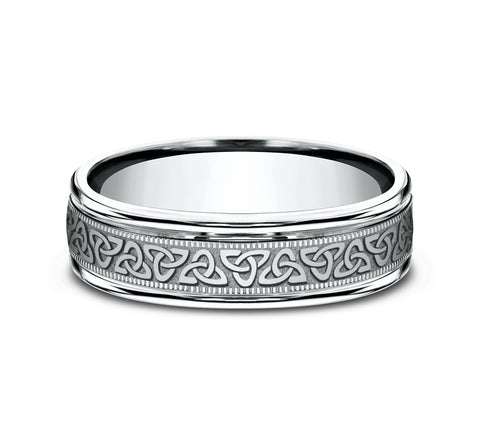 14k White Gold 6mm Band with A Celtic Knot Pattern Center and High Polish Rounded Edges