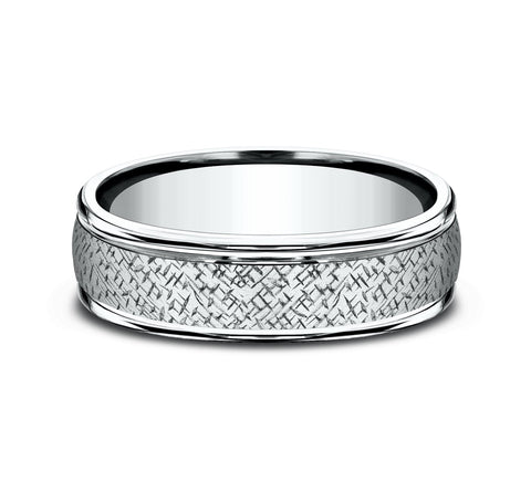 14k White Gold 6 5mm Band with A Wired Hatch Pattern Center and High Polish Rounded Edges