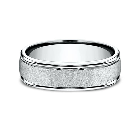 14k White Gold 6 5mm Band with A Swirl Finish Center and High Polish Rounded Edges