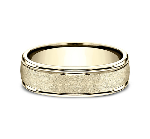 14k Yellow Gold 6 5mm Band with A Swirl Finish Center and High Polish Rounded Edges