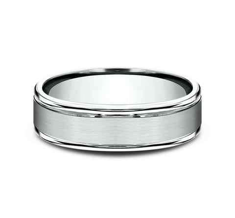 14k White Gold 6 5mm Lightweight Band with A Satin Center and High Polish Rounded Edges