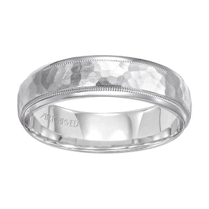 14K White Gold Hammered Satin Band