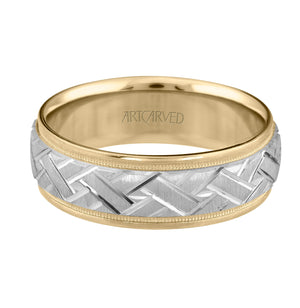 14K Two-tone Engraved Band