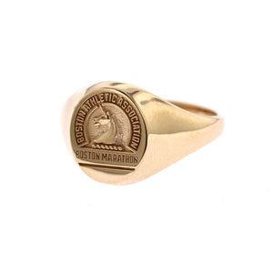 Woman's Oval 14K Gold Boston Marathon® Ring with Stylized Unicorn Logo
