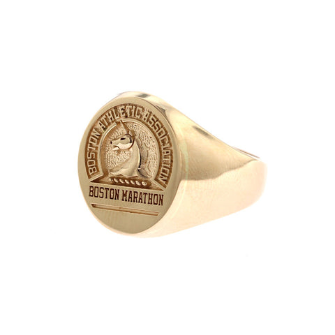 Men's Oval 14K Gold Boston Marathon® Ring with Stylized Unicorn Logo