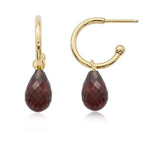 14K Yellow Gold Garnet Dangle Earrings