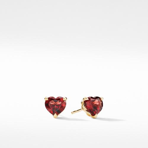 Heart Stud Earrings in 18K Yellow Gold with Garnet
