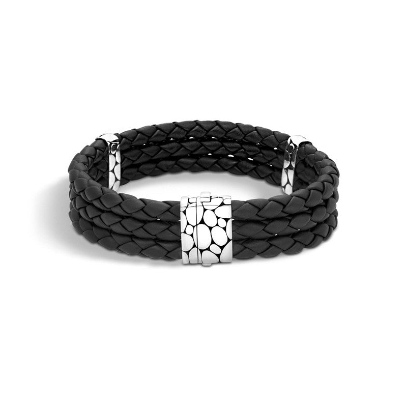 Kali Woven Leather Triple Row Bracelet