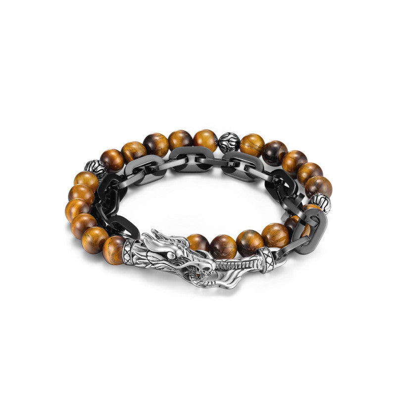 Legends Naga Stainless Steel Double Wrap Link Bracelet