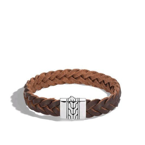 Classic Chain Silver Bracelet with Pusher Clasp and Brown Leather Cord