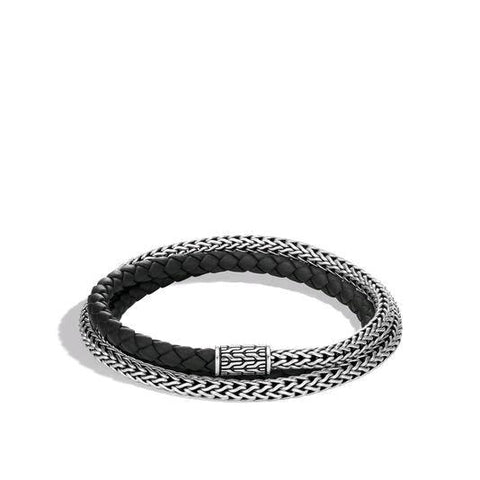 Classic Chain Silver Triple Wrap Extra Small Bracelet with Pusher Clasp and Black Leather Cord