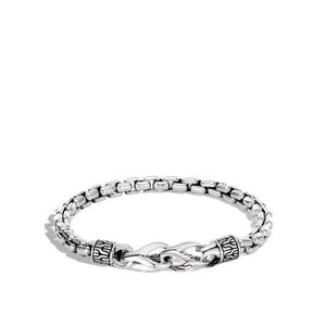 Asli Classic Chain Link Silver Box Chain Bracelet with Hook Clasp