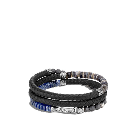 Classic Chain Silver Black Leather Multi-Colored Bead Triple Wrap Bracelet with Hook Clasp