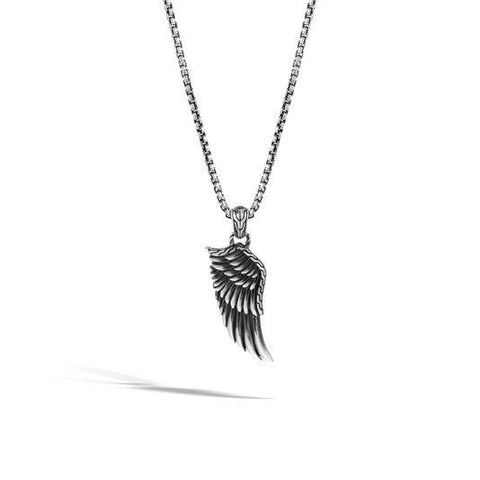 Legends Eagle Silver Large Eagle Wing Pendant Box Chain Necklace