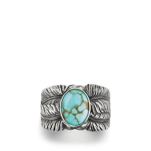 Southwest Cigar Band Feather Ring with Turquoise