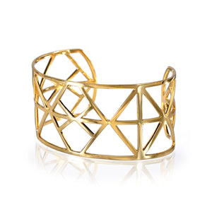 18K Yellow Gold Geometric Cuff