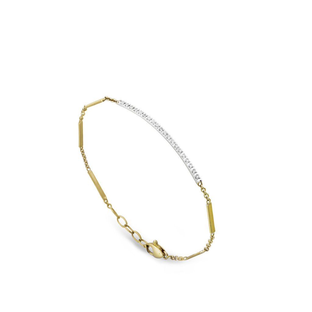 Goa 18K Gold Pave Diamond Bar Bracelet