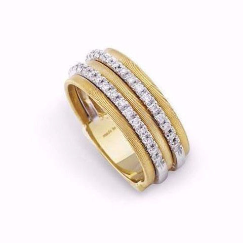 Goa 18K Yellow Gold Five Row Pave Diamond Ring