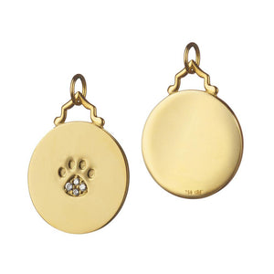 18K Yellow Gold Paw Print Charm