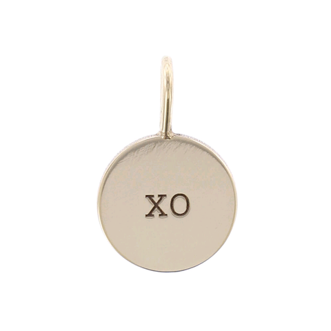 "14K Yellow Gold Small ""XO"" Disc Charm Pendant"