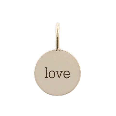 "14K Yellow Gold Small Disc ""Love"" Charm Pendant"