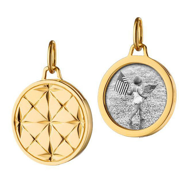 18K Yellow Gold Round Locket Charm