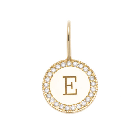14K Yellow Gold Pave Diamond Initial Disc Charm