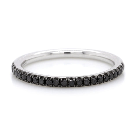 18K White Gold Black Pave Diamond Band