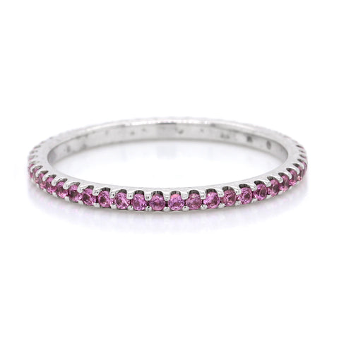 18K White Gold Pink Sapphire Shared Prong Eternity Band