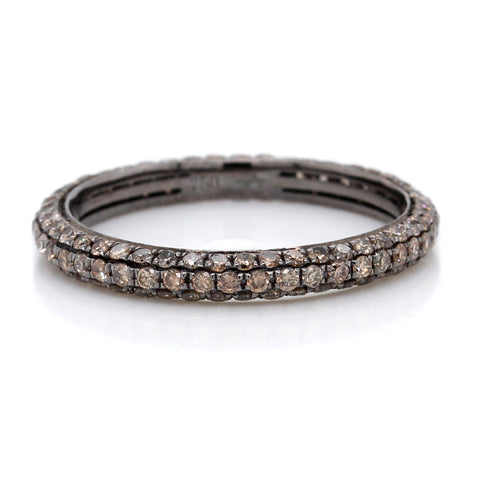 18K White Gold Three Row Pave Brown Diamond and Black Rhodium Eternity Band