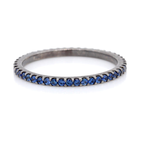 18K White Gold Sapphire and Black Rhodium Eternity Band