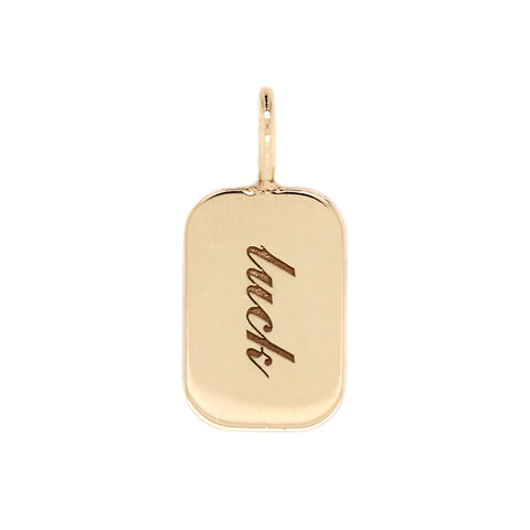 "14K Rectangle Disc ""Lucky"" Charm"