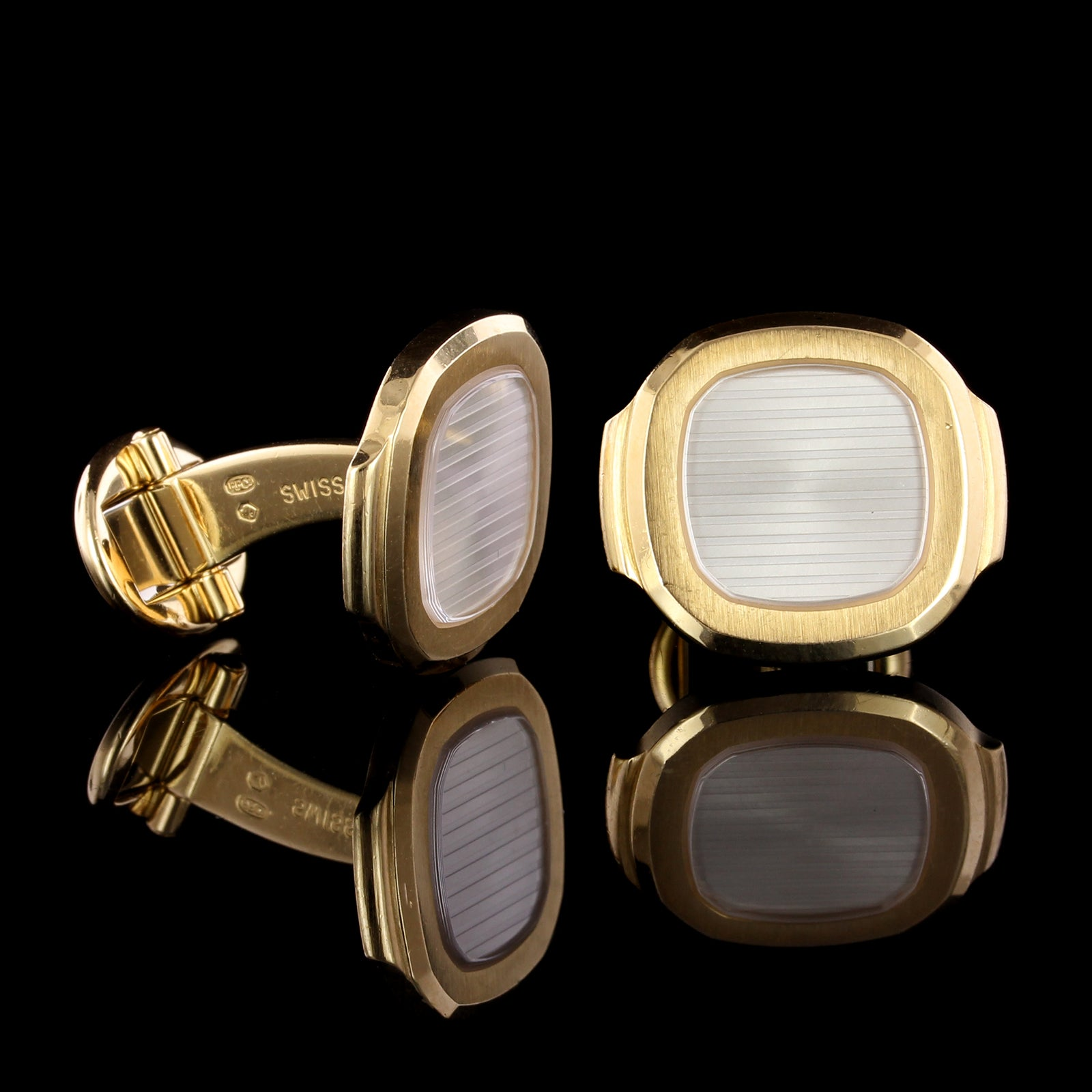 Patek Philippe 18K Yellow Gold Estate Nautilus Cufflinks