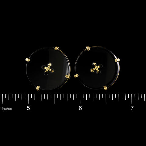 18K Yellow Gold Estate Onyx Button Cufflinks, Italy