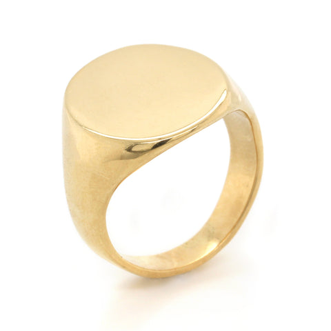 18K Yellow Gold Large Oval Signet Ring