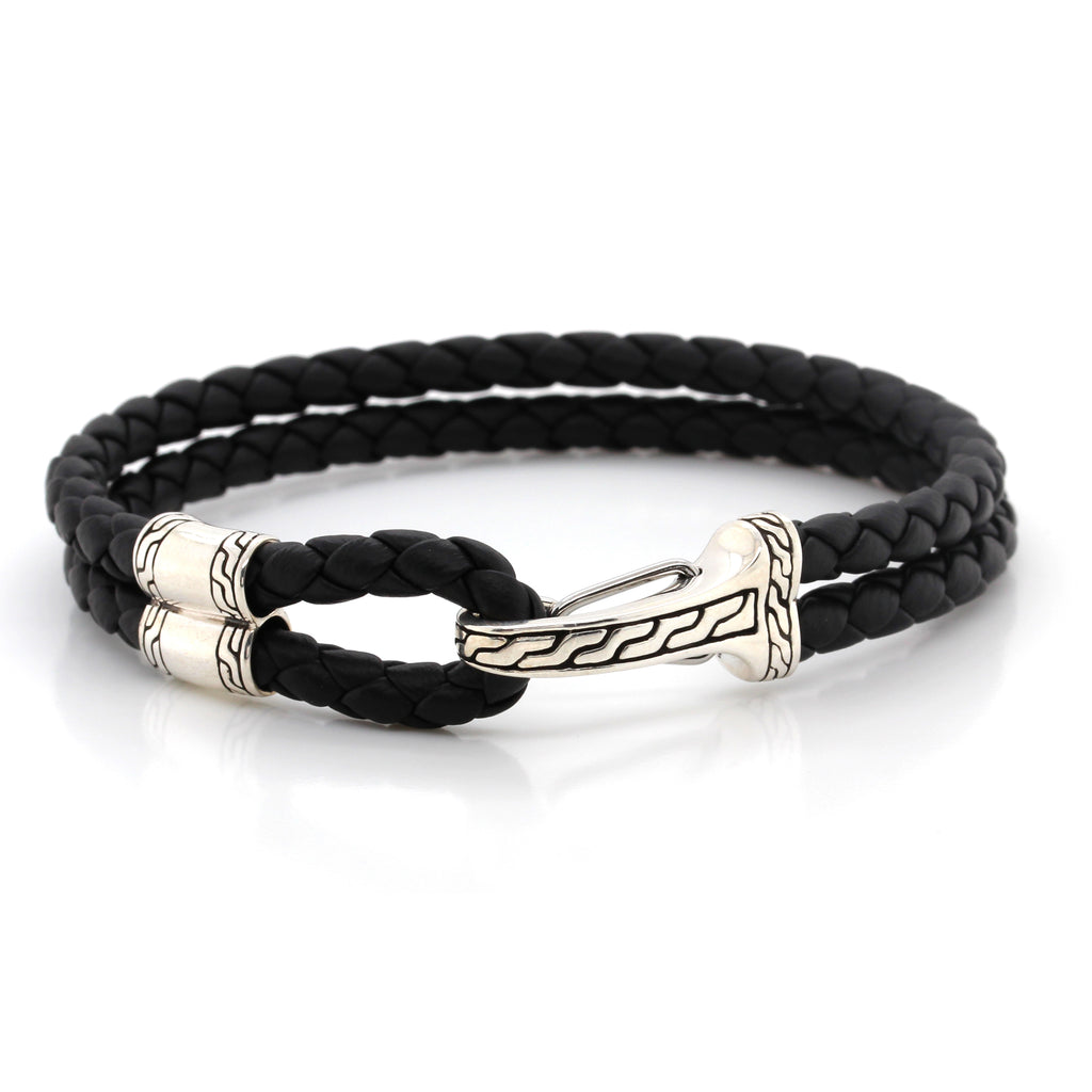 John Hardy Classic Chain Double Leather Hook Clasp Bracelet