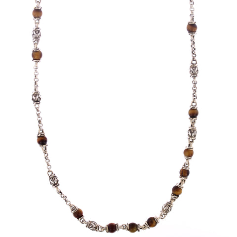 Classic Chain Beaded Tiger's Eye Gemstone Necklace