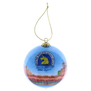 2019 Boston Marathon® Boston Skyline Commemorative Glass Ornament
