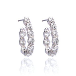 18K White Gold 20 Diamond J-Hoop New Moon Earrings
