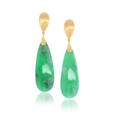 18K Yellow Gold Pezzi Unici Green Jade Earrings