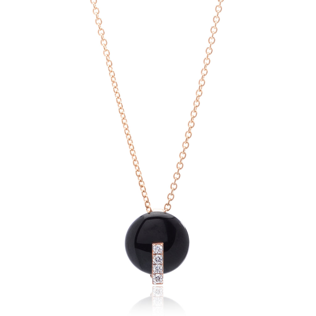 18K Rose Gold Diamond and Black Jade Disk Necklace